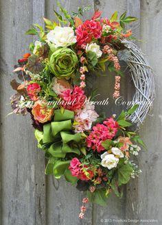 Summer Wreath, Floral Wreath, Victorian Garden Wreath, Country French, Cottage Wreath, Elegant Floral, Designer Wreath