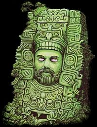 "Terrence Mckenna portrayed as a Aztec art work. Thought it was pretty cool.  Compliments of ""An Idiots Guide to Dreaming"""