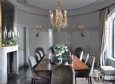 Oval Deco-Inspired Dining Room - Luxe Interiors + Design
