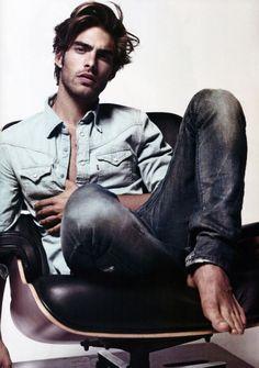 Just hangin' out.  linen shirt and worn denim
