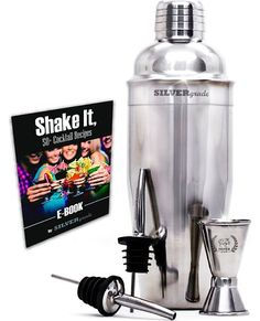 Cocktail Shaker Set by SILVERgrade - Professional Martini Bartender Kit - 24 Ounce Stainless Steel Shaker with Built-in Strainer & Lid, Double Jigger, 2 Liquor Pourers, & 50 Cocktail Recipes eBook