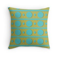 Blue and Green Circles and Stripes Pattern Pillow by Dragonfire Graphics
