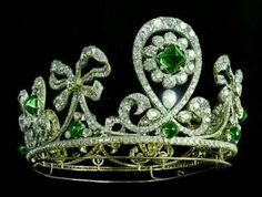 Emerald and diamond tiara worn by the tsarina of Russia.