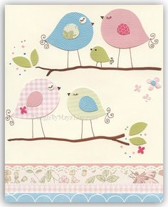 Baby room wall art Print Art Love birdsBeauty by DesignByMaya, $17.00 Would make a cute card