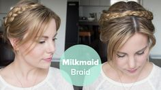 Here is my tutorial on how to create a milkmaid braid for short hair. This look was worn by Downton Abbey's Joanne Froggatt at the 2015 Golden Globes! Short Hair Braids Tutorial, Braids For Short Hair, Box Braids, Braided Crown Hairstyles, Braided Hairstyles Tutorials, Asian Hairstyles, Teenage Hairstyles, Hairstyles Videos, Hair Tutorials
