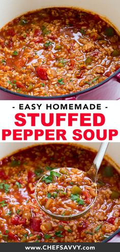Pepper Soup - Chef Savvy Stuffed Pepper Soup loaded with spicy sausage, bell peppers and rice! Everything you love about a stuffed pepper but in soup form! This is the perfect healthy comfort food recipe to make for dinner during the cool winter season! Soup Recipes, Dinner Recipes, Cooking Recipes, Healthy Recipes, Oven Recipes, Vegetarian Cooking, Dinner Menu, Easy Cooking, Easy Recipes