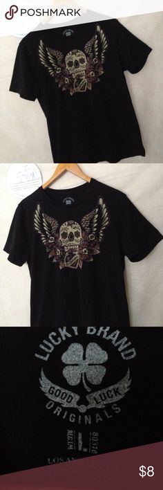 Lucky brands skull black t-shirt size L Used shirt with no holes, rips or tears shipping from smoke free environment, thank you.  SKU 120516.001.00Y Lucky Brand Shirts Tees - Short Sleeve