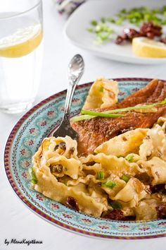 Salmon with Pasta and Saffron - so tasty... worth using the saffron for.