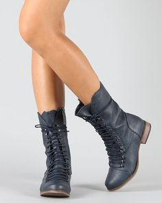 Breckelle Georgia-24 Lace Up Military Mid Calf Boot Blue $36.99