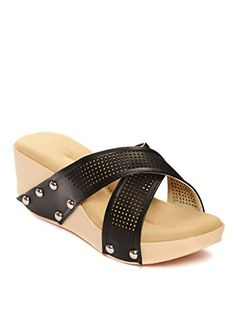 Bruno Manetti Women's Black Synthetic Leather Block Wedges-EURO 40 Cheap Sandals, Leather Wedges, Euro, Shoes, Black, Fashion, Moda, Zapatos, Shoes Outlet
