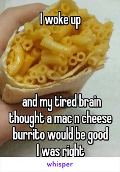 I woke up      and my tired brain thought a mac n cheese burrito would be good I was right