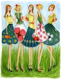 In Style: Spring Skirts Canvas Art by Bella Pilar Spring Skirts, Arte Pop, Fashion Sketches, Fashion Illustrations, Fashion Drawings, Watercolor Illustration, Fashion Pictures, Cute Cartoon, Fashion Art
