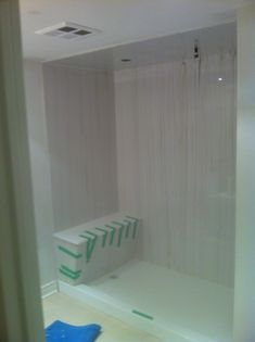 White with china marble streak Cultured Marble shower walls and bench seat