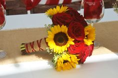 Sunflowers and red roses in a bridal bouquet made at your local Riverside CA flower shop - Willow Branch Florist of Riverside Prom Flowers, Bridal Flowers, Red Rose Wedding, Fall Wedding, Red Sunflower Wedding, Wedding Ideas, Red Roses And Sunflowers, Sunflower Bouquets, Rose Bouquet