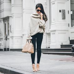 Sweater weather in nudes  Love oversized knits and these suede booties! http://liketk.it/2qxqo @liketoknow.it #liketkit