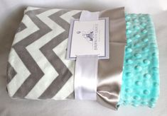 Gray and White Chevron Minky Blanket with Tiffany Blue Minky Dot on Reverse - Baby Minky Blanket, boy or girl, baby shower, birthday on Etsy, $65.00