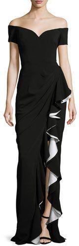 Badgley Mischka Off-the-Shoulder Draped Ruffle Column Gown, Black/Ivory