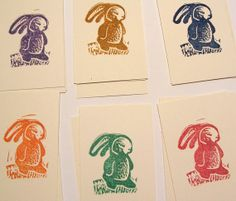 Little Rabbits set of 6 hand printed mini easter by craftyhag, $7.00
