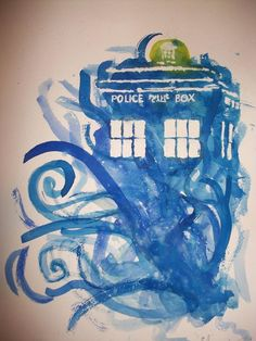 Doctor Who Tardis watercolour painting