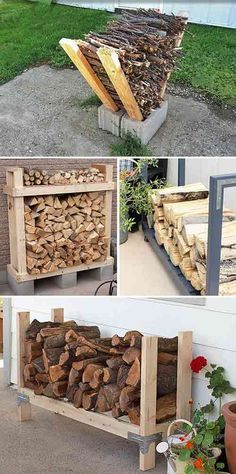 Lots of ideas projects and tutorials of firewood racks that you can very easily make yourself! The post 9 Super Easy DIY Outdoor Firewood Racks! Lots of ideas projects and tutoria appeared first on Diy. Outdoor Firewood Rack, Firewood Storage, Firewood Stand, Firewood Holder, Backyard Projects, Outdoor Projects, Diy Projects, Project Ideas, Outdoor Crafts