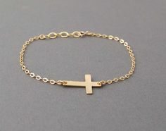 Gold Sideways Cross Bracelet Horizontal by jennijewel on Etsy, $21.00