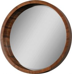 Features: -Contemporary circular mirror with walnut veneer frame and in beveled mirror. Circular Mirror, Round Wall Mirror, Wall Mounted Mirror, Beveled Mirror, Floor Mirror, Round Mirrors, Mirror Mirror, Porthole Mirror, Mirror Shelves