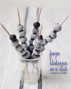 Soak blueberries in vodka and freeze them - then use as a cocktail garnish #cheers