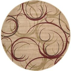 A unique abstract design and luxurious pile highlight this machine-made rug. This area rug features shades of beige, burgundy and yellow.
