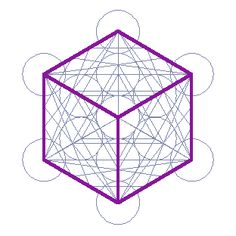 A 2D view of the 3D Metatron's cube highlighting the 6 sided cube, a 3D platonic solid with 8 points. All of its faces are squares and all of its angles are 90 degrees.