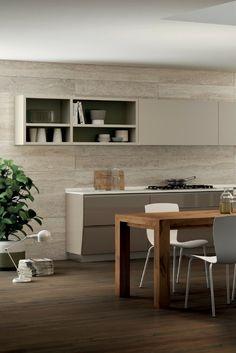 Küche, Holzboden, Parkett, Holzküche, skandinavisch, Design, Idee, Bild, Küchenform, modern; Foto: Scavolini