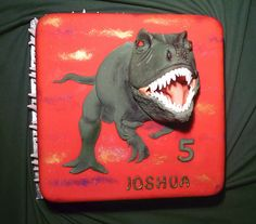t-rex head. These are always a hit with the children. Dino teeth all around the board so everyone gets one. Dinosaur Food, Dinosaur Crafts, Dinosaur Party, T Rex Cake, Professional Cake Decorating, Penguin Cakes, Dessert Cake Recipes, Desserts, Birthday Parties