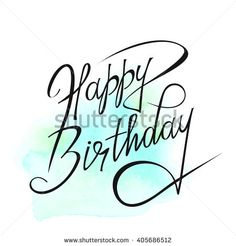Happy Birthday text over original art brush paint texture background design watercolor spot poster over square frame vector illustration.