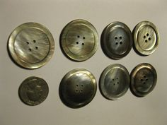 """Lot of 7 Vintage Large Shell Buttons 1 3/8"""" diameter 4 hole Shiny Iridescent"""