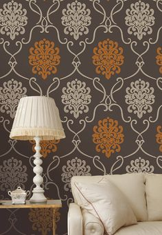 Moroccan damask wallpaper feature wall wallpaper decor idea