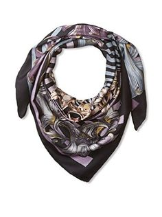 Versace Women's Scarf, Purple/Grey/Black
