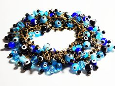 Evil eye bracelet.   Evil eye jewelry by rebekajewelry on Etsy