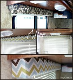 Vintage Dutch Girl: Travel Trailer Makeover, Part Recovering Window Cornice T. - Vintage Dutch Girl: Travel Trailer Makeover, Part Recovering Window Cornice Thingys! Cool Campers, Rv Campers, Happy Campers, Camper Van, Truck Camper, Camper Hacks, Diy Camper, Rv Hacks, Camper Interior
