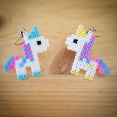 "Gefällt 36 Mal, 2 Kommentare - Desi Ree (@diekuckucksuhr_perler) auf Instagram: ""Unicorn Earrings for the beautiful @mademoisellejoelle19  . . . #unicorn #earrings #rainbow…"""