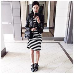 Chloe Susanna, striped dress & leather jacket.