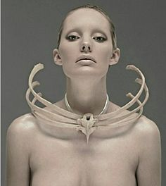 Jess Eaton made her necklace from a human ribcage donated by a university medical department. Photography by Kenny McCracken .