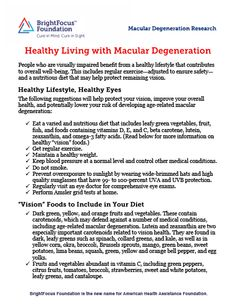 Healthy Living with Macular Degeneration. Home Instead Senior Care of Boulder and Broomfield Counties.  720-890-0184   http://www.homeinstead.com/397/Pages/HomeInsteadSeniorCare.aspx