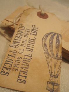 Distressed Gift Tags - Vintage Inspired  / May your travel. $4.99, via Etsy.