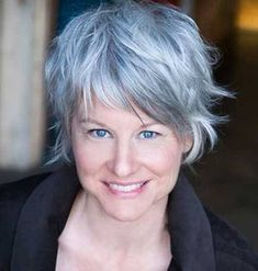 Image result for short shaggy grey hair on women with thick hair