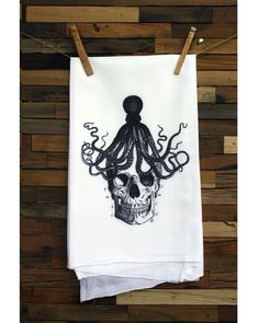 100% Egyptian Cotton Flour Sack Chef's Kitchen Dish Towel Trendy Skull with Octopus