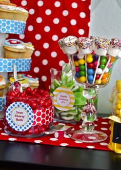 Yo Gabba Gabba party with character cupcakes, candy buffet table, bubble gum machine & gum favors, custom cupcake toppers, & more ideas. Candy Table, Candy Buffet, Dessert Table, Tapas, Bar A Bonbon, Party In A Box, Candy Party, Candyland, Party Time