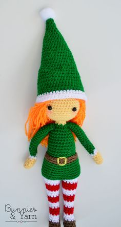 Crochet Pattern - Edna the Elf - Christmas Doll - Amigurumi