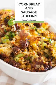 Homemade Cornbread and Sausage Stuffing is perfect for any holiday! - Thanksgiving Sides -This Homemade Cornbread and Sausage Stuffing is perfect for any holiday! Stuffing Recipes For Thanksgiving, Thanksgiving Sides, Thanksgiving Desserts, Christmas Desserts, Holiday Meals, Christmas Recipes, Holiday Bread, Holiday Recipes, Cupcakes