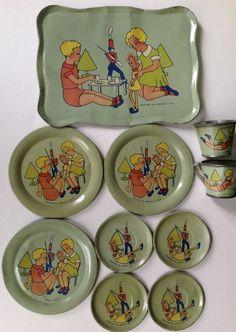 """Vintage 1935 Ohio Art tin litho toy tea set """"Tea Time With Dolls"""" #OhioArt"""