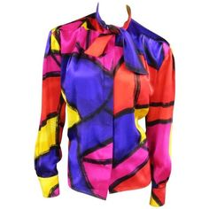 Preowned Thierry Mugler Size 10 Multi-color Abstract Brush Stroke Silk... ($257) ❤ liked on Polyvore featuring tops, blouses, purple, silk top, silk tie blouse, tie collar blouse, silk print blouse and sleeve blouse