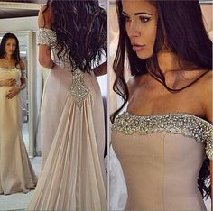 Sparkling Off the Shoulder Prom Dresses Chiffon Mermaid Evening Dresses Beads Party Prom Gowns